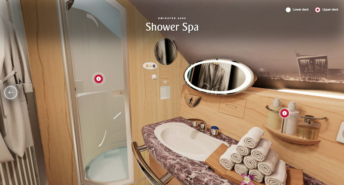 The new feature available on emirates.com allows users to navigate through the Economy, Business and First Class cabins, as well as the iconic Onboard Lounge and Shower Spa on the Emirates A380 using navigational hotspots.