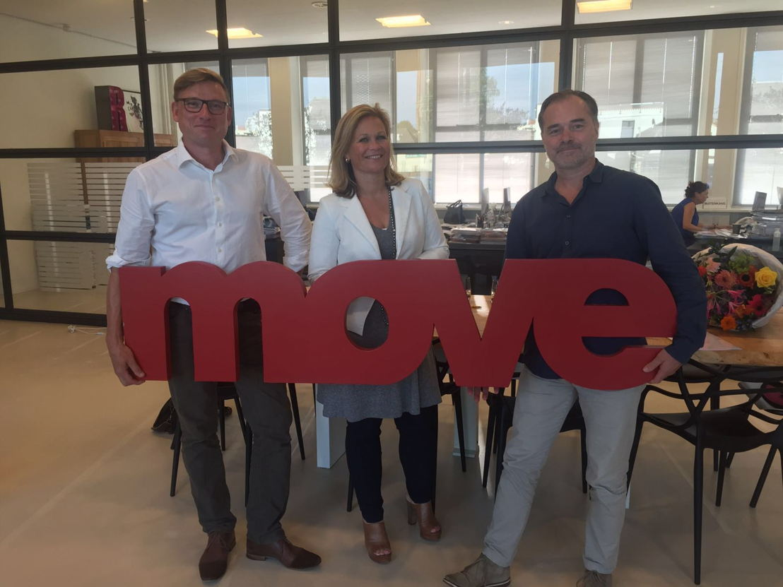 Les nouveaux propriétaires de MOVE: Ken Koeklenberg (The Oval Office), Christine van Dalen (Bureau voor Reuring) et Wouter Boits (The Oval Office)