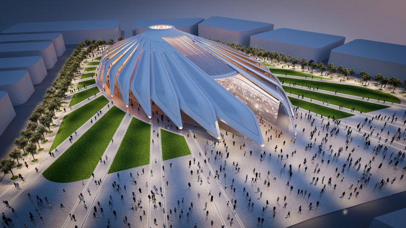 Overview of UAE pavilion World Expo 2020 Dubai by Santiago Calatrava
