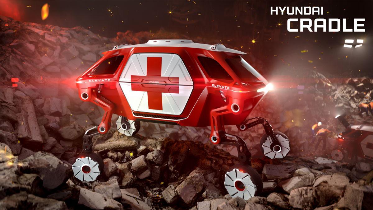 El Hyundai Elevate Concept en acción después de un terremoto.