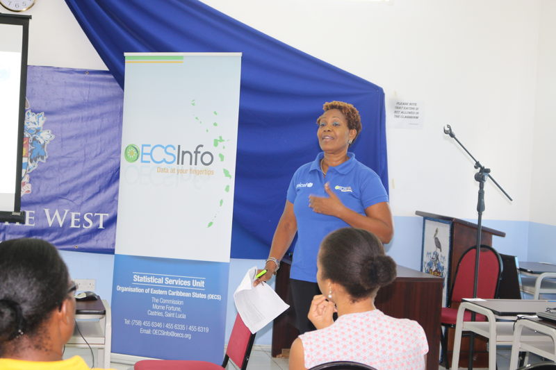 Ms. Geraldine St. Croix, Project Coordinator of the Enhanced Country Poverty Assessment Project, delivers brief remarks.
