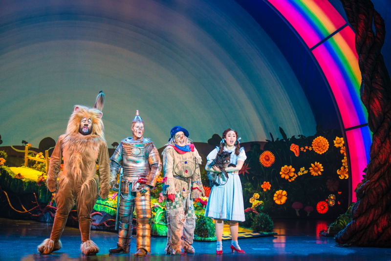 """Aaron Fried as Lion, Jay McGill as Tin Man, Morgan Reynolds as Scarecrow and<br/>Sarah Lasko as Dorothy in """"We're Off to Meet the Wizard""""<br/>Photo credit: DANIEL A. SWALEC"""