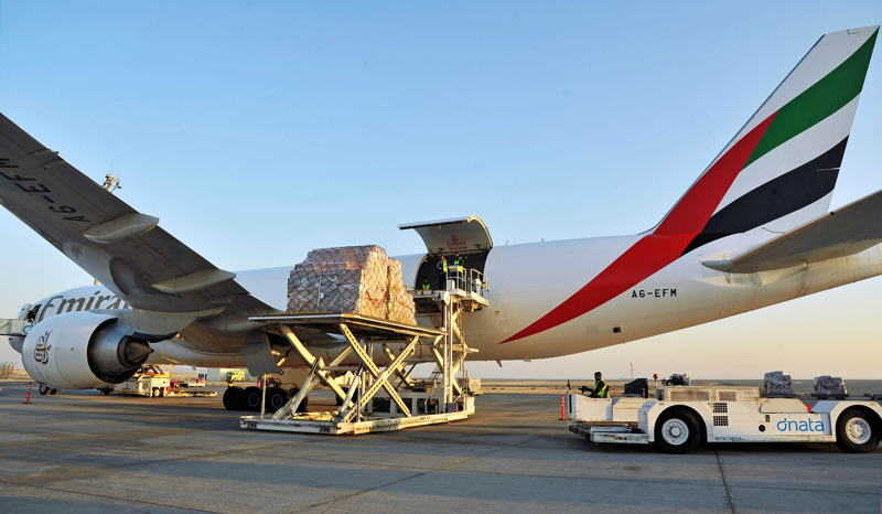 Cargo being loaded onto Emirates' Boeing 777F at the Dubai World Central's Al Maktoum International Airport.