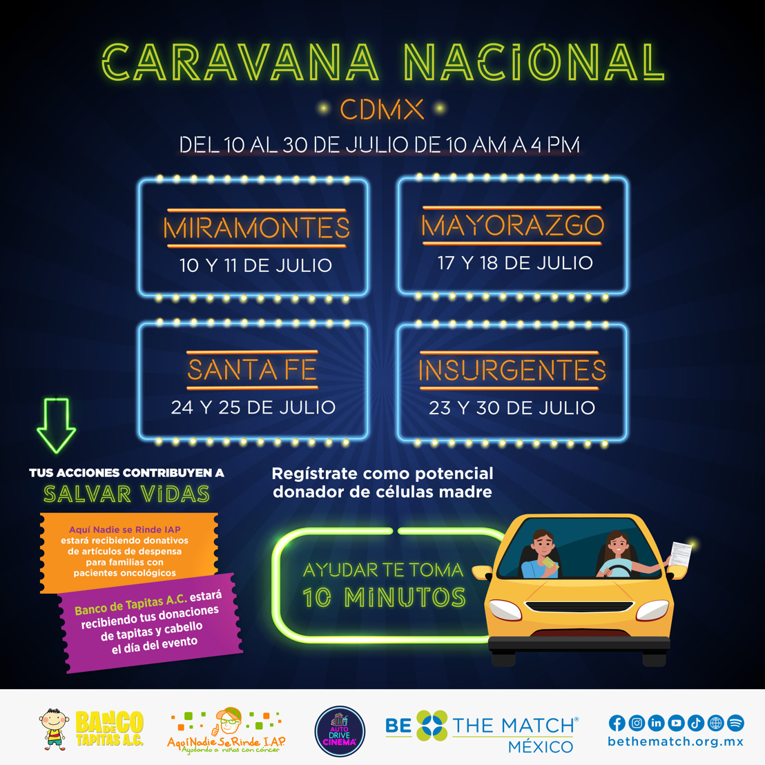 Preparan caravana en los Autodrive Cinema de la CDMX para sumar donadores de células madre