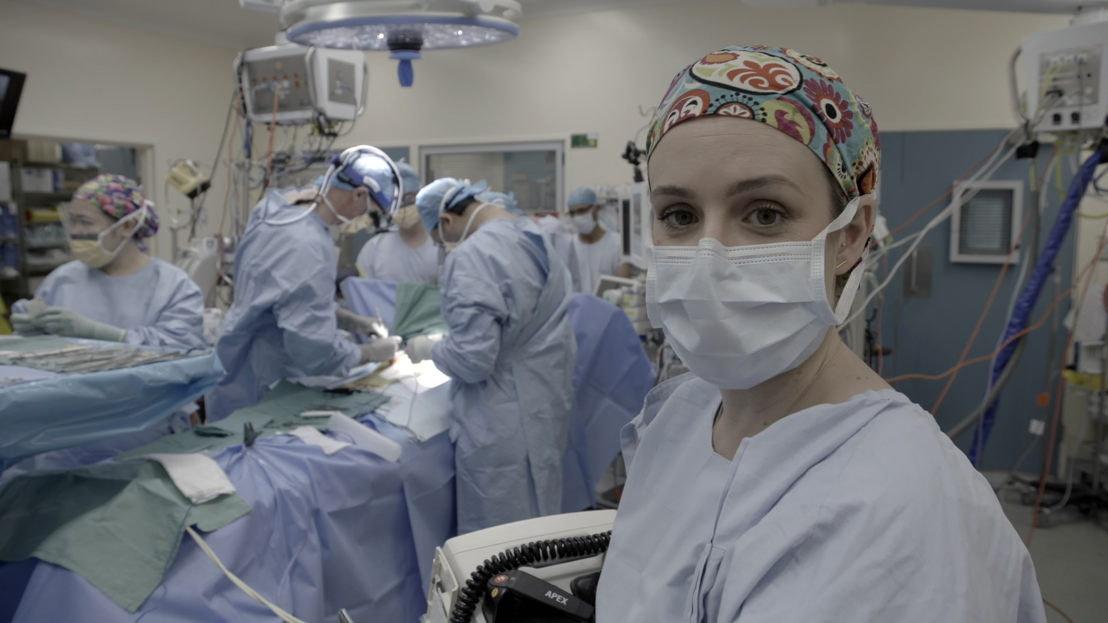 Dr Nikki Stamp during surgery