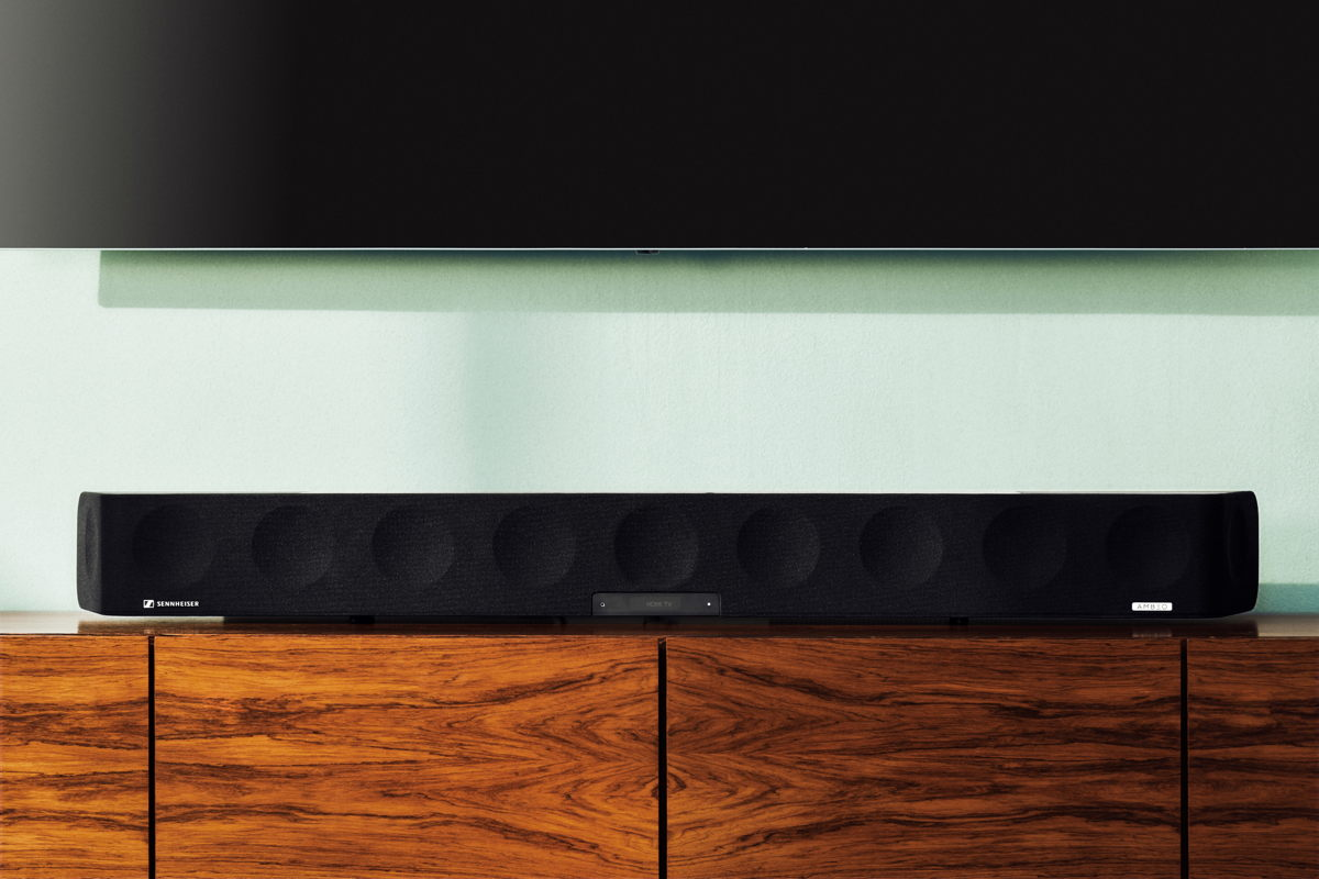 The AMBEO Soundbar delivers an immersive 3D sound experience from a single all-in-one device.
