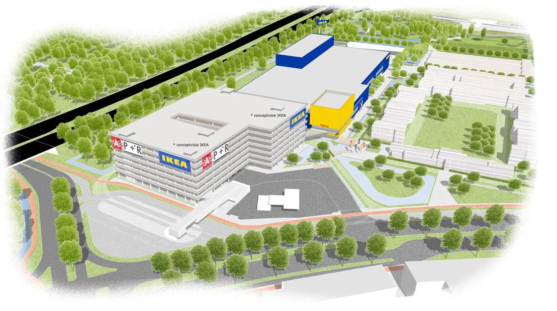 Schets van de nieuwe IKEA vestiging op de Havanasite – overzicht