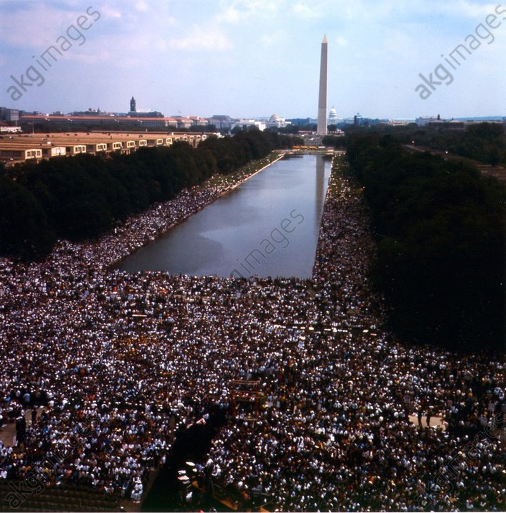 March on Washington, 28 August 1963<br/>(200 000 black and white Americans demonstrate for progressive civil rights). View of the crowd of demonstrators; Washington Monument in the background.<br/>AKG608609