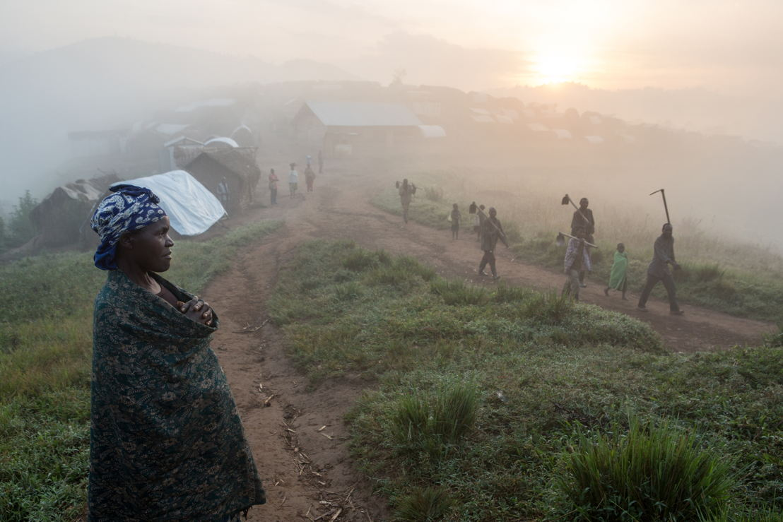 Dawn at internally displaced people (IDP) camp in Mweso, the camp was established in 2007. Mweso is a town in North Kivu, Eastern Democratic Republic of the Congo. it is located about 120 kilometres from North Kivu's capital Goma. Mweso, February 8, 2017. Photographer: Gwenn Dubourthoumieu