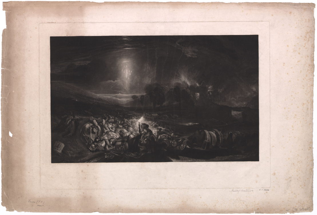 The Field of Waterloo, gegraveerd door F.C. Lewis, naar het schilderij van J.M.W. Turner<br/>© Koninklijke Bibliotheek van België