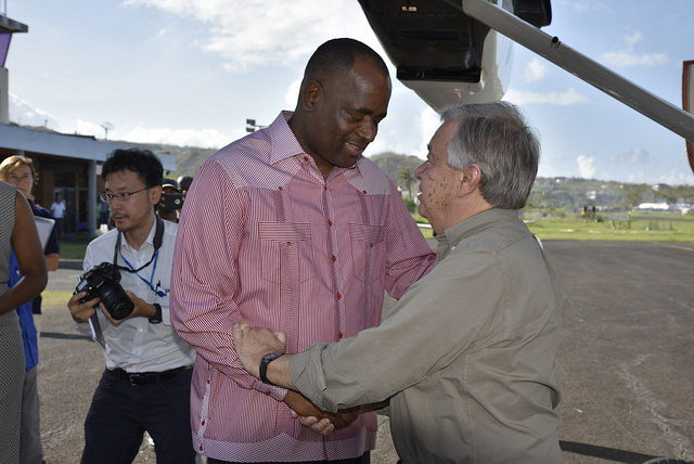 UN Secretary-General António Guterres greets  Prime Minister of Dominica Hon. Roosevelt Skerrit as he disembarks aircraft.