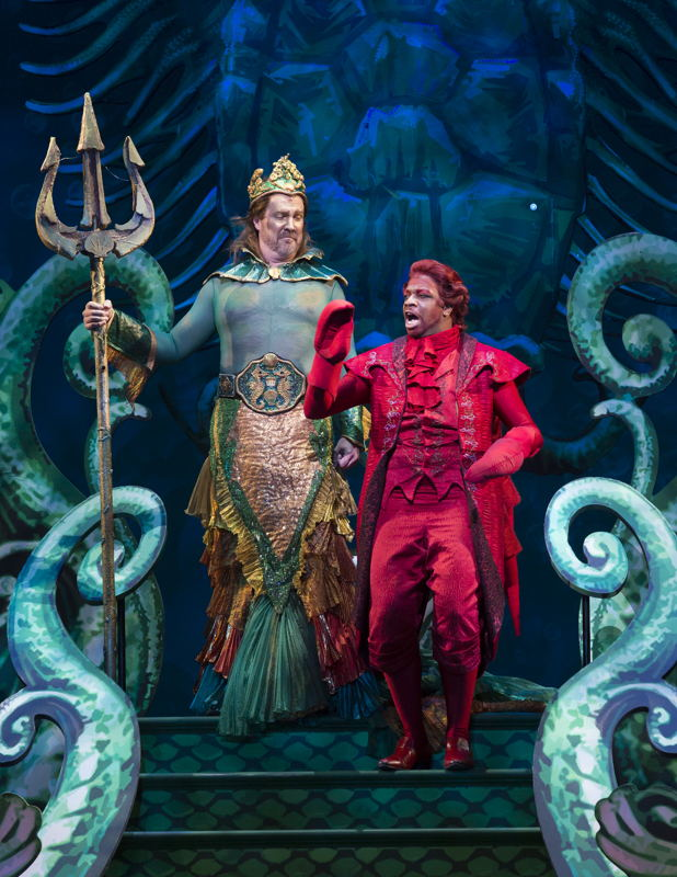 Fred Inkley as King Triton and Melvin Abston as Sebastian.  Photo by Bruce Bennett, courtesy of Theatre Under The Stars