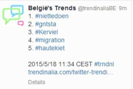 Intussen is #niettedoen trending toppic op Twitter in België!
