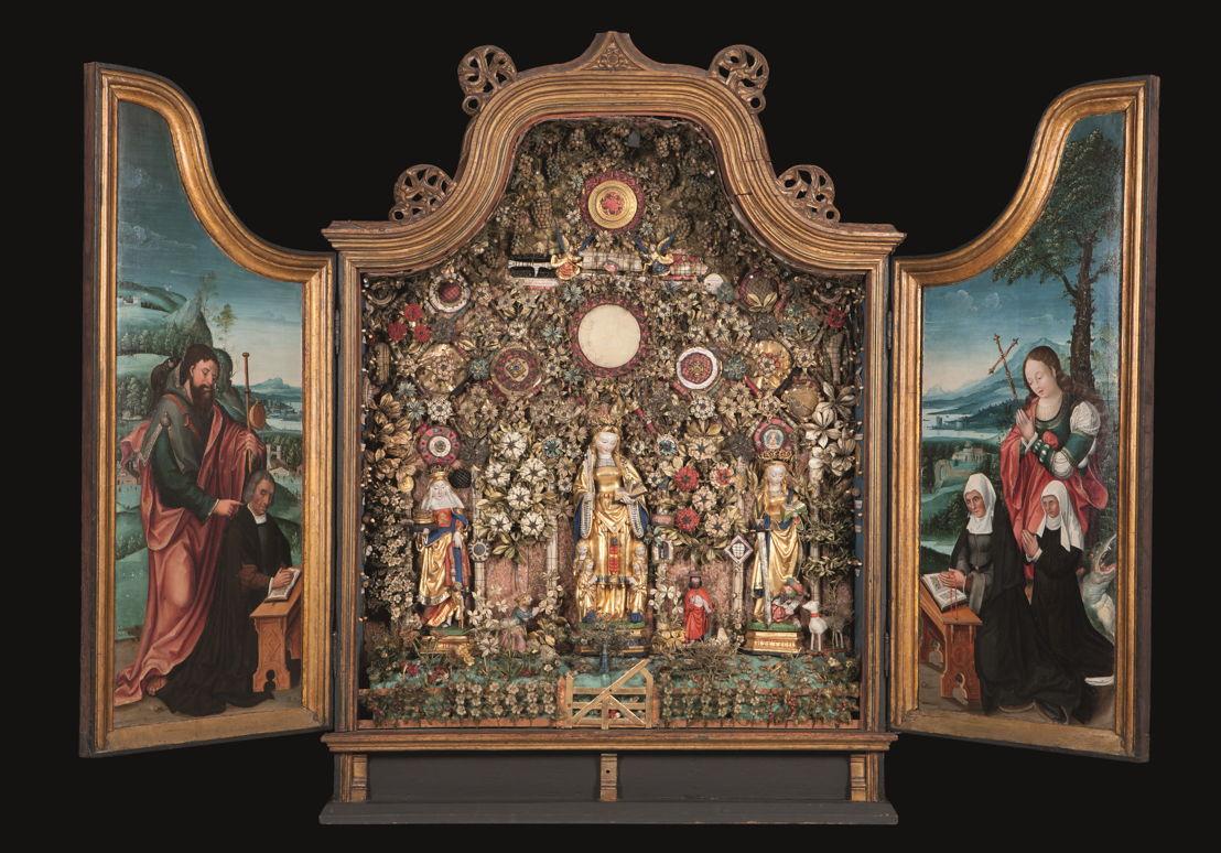 © Jardin clos avec Elisabeth, Ursula et Catharina, Malines, vers 1520–1530. <br/>Musea en Erfgoed Mechelen – Collection des Gasthuiszusters (Kik-irpa, Brussel).