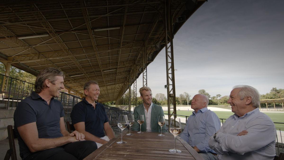 Ruben Van Gucht in La Cipale met Dirk Demol, Johan Bruyneel, Rudi Pevenage en José De Cauwer