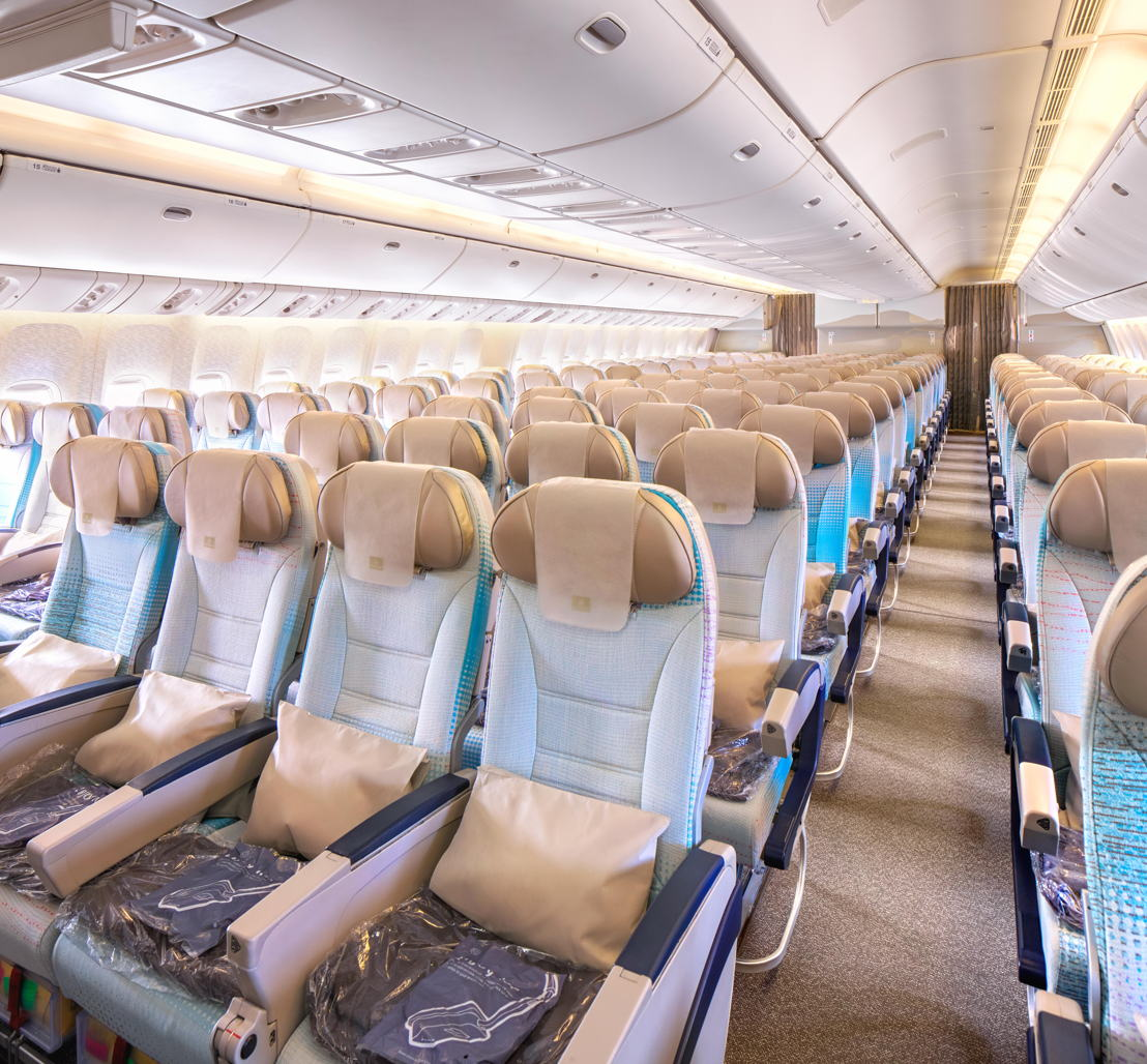 Economy class seats onboard the 777-200LR have also been refreshed to the latest colour palette of soft greys and blues.