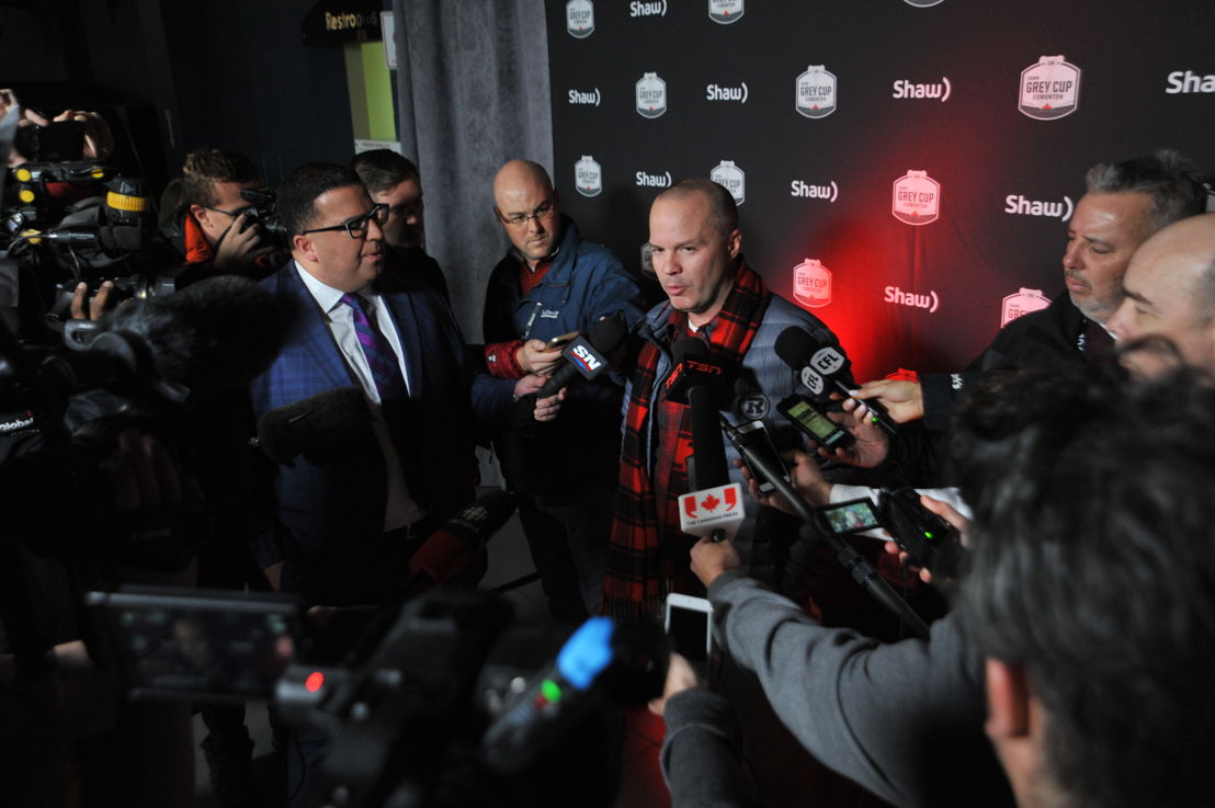Ottawa REDBLACKS head coach Rick Campbell speaking to media today. Photo credit: Walter Tychnowicz/CFL.ca