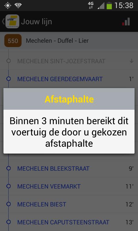 De Lijn - app halteaankondiging<br/>De app meldt dat het nog 3 minuten is tot de afstaphalte