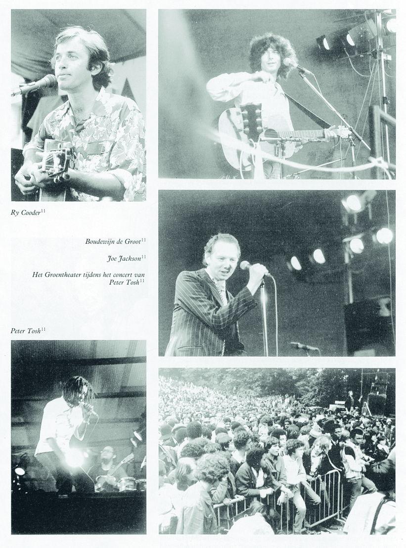 a) Ry Cooder op het Muntplein, Mallemunt 1979. Foto Anton Wilsens<br/>b) Boudewijn de Groot op het Muntplein, Mallemunt 1979. Foto Anton Wilsens<br/>c) Joe Jackson op het Muntplein, Mallemunt 1979. Foto Anton Wilsens d) Peter Tosh in het Groentheater, Mallemunt 1979. Foto Anton Wilsens