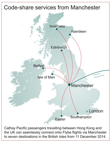 Cathay Pacific adds more UK destinations through code-share agreement with Flybe