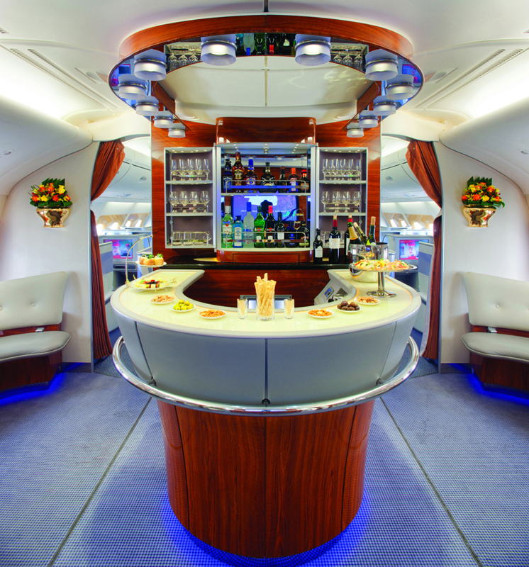 First Class and Business Class passengers can socialise at 40,000 feet in the Emirates Onboard Lounge.