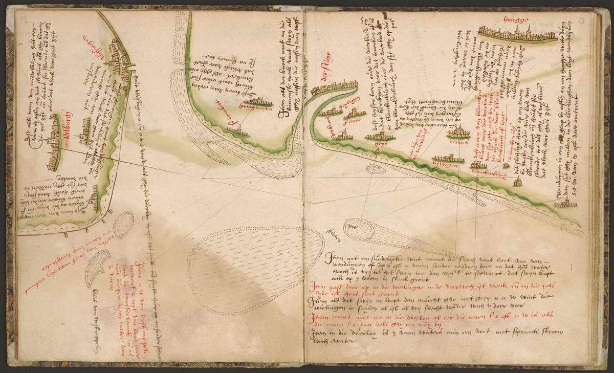 Pagina uit het Zeeboek, uit de collectie van de Erfgoedbibliotheek Hendrik Conscience