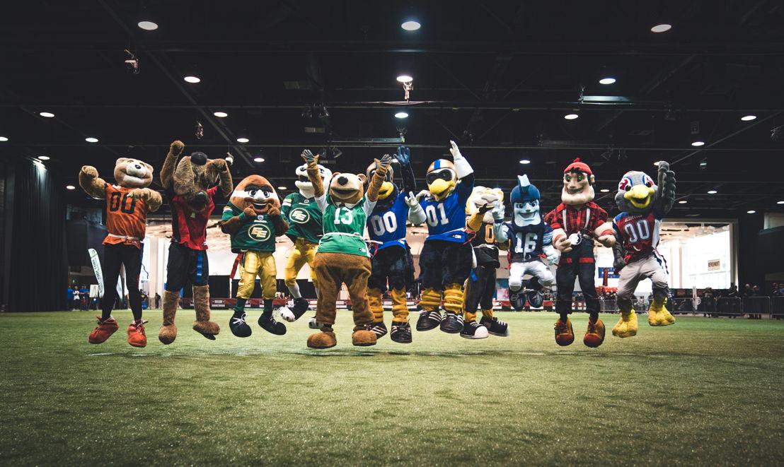 Les mascottes de toutes les équipes de la LCF ont participé à la semaine de la LCF L'Équipeur. Photo : Johany Jutras/LCF.ca