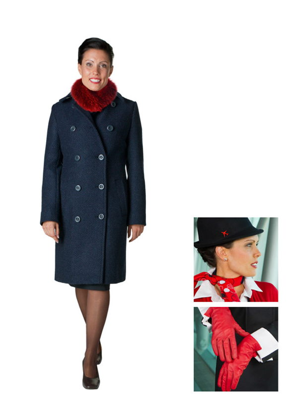 Adapted Antarctica uniform with faux fur for female flight attendants
