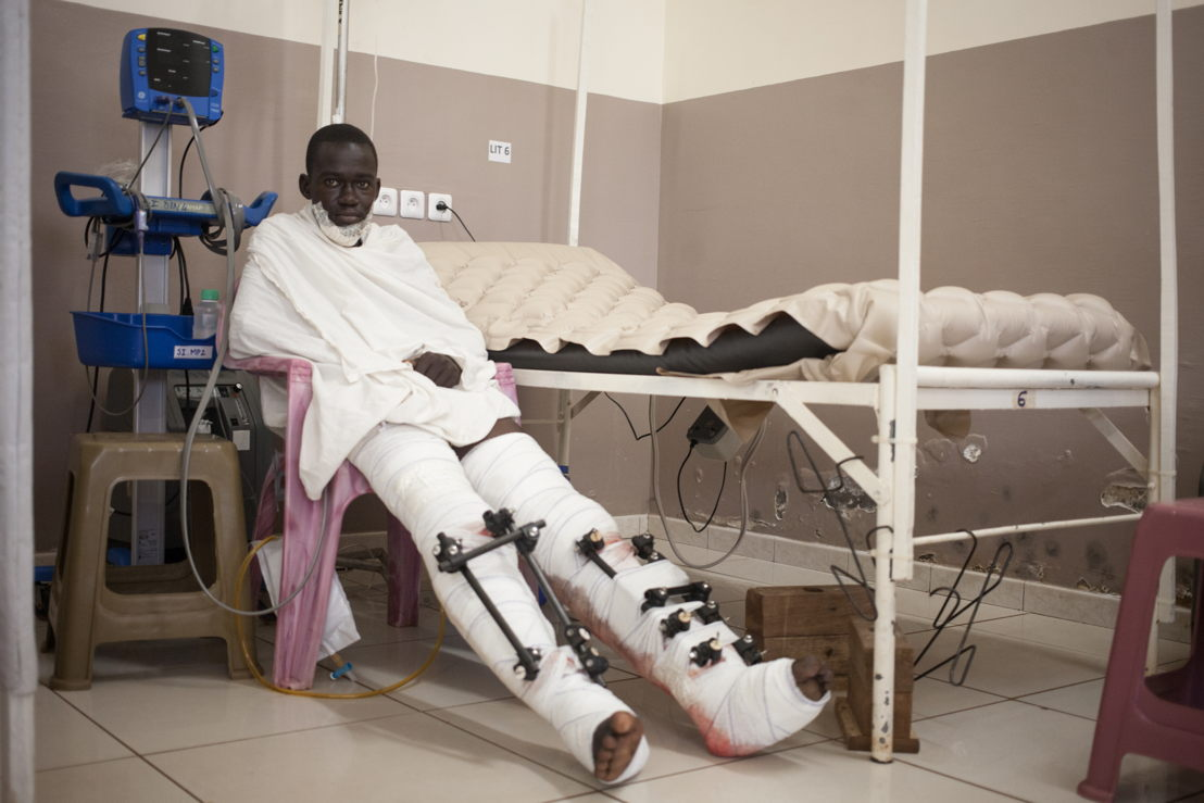 Mahat is in intensive care. He received numerous bursts of grenades in his legs and face during the resumption of the operation of MINUSCA and Central African security forces in Bangui's PK5 district against local armed groups, which resulted in fighting. Photographer: Florent Vergnes