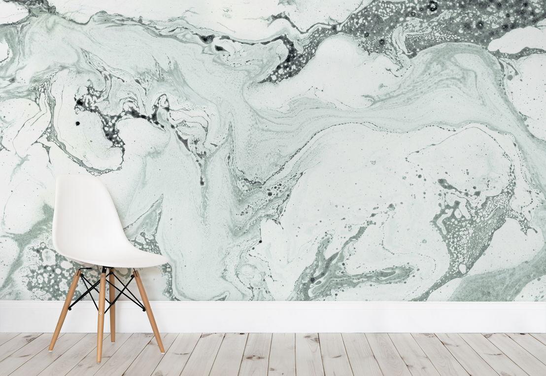 Green Marbleised Wallpaper Mural
