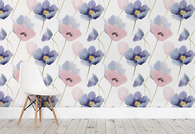 Rose Quartz and Serenity Poppy Wallpaper Mural