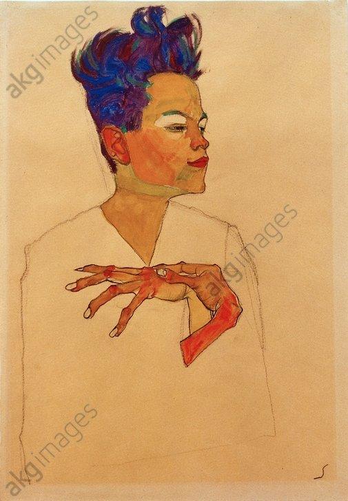 &quot;Self-portrait with hands on chest&quot;, 1910.<br/>AKG1108992