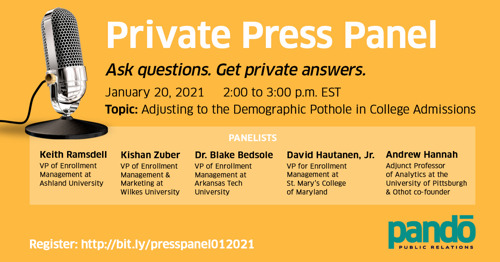 Private Press Panel - 4 university VPs (and a data scientist) take questions about 2025 admissions cliff - COMPLETED