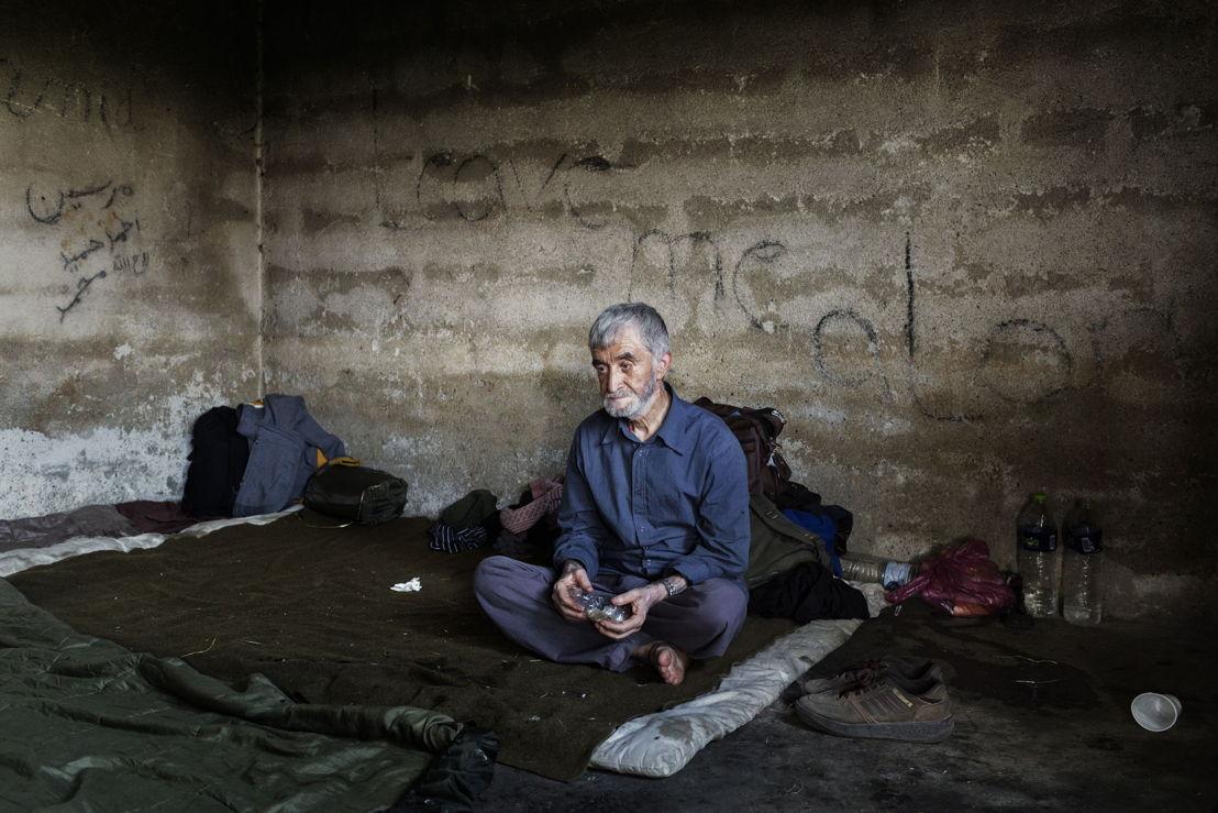 Idomeni. Grèce. Mohamed, un Afghan de 65 ans dans une petite maison à la frontière entre la Grèce et la Macédoine où des migrants trouvent refuge.
