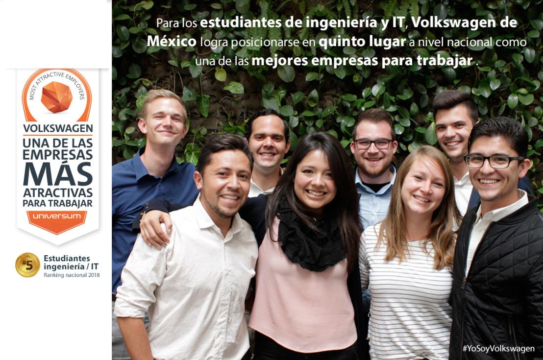 Volkswagen de México es incluida entre las mejores empresas para trabajar en ingenierías y tecnologías de la información