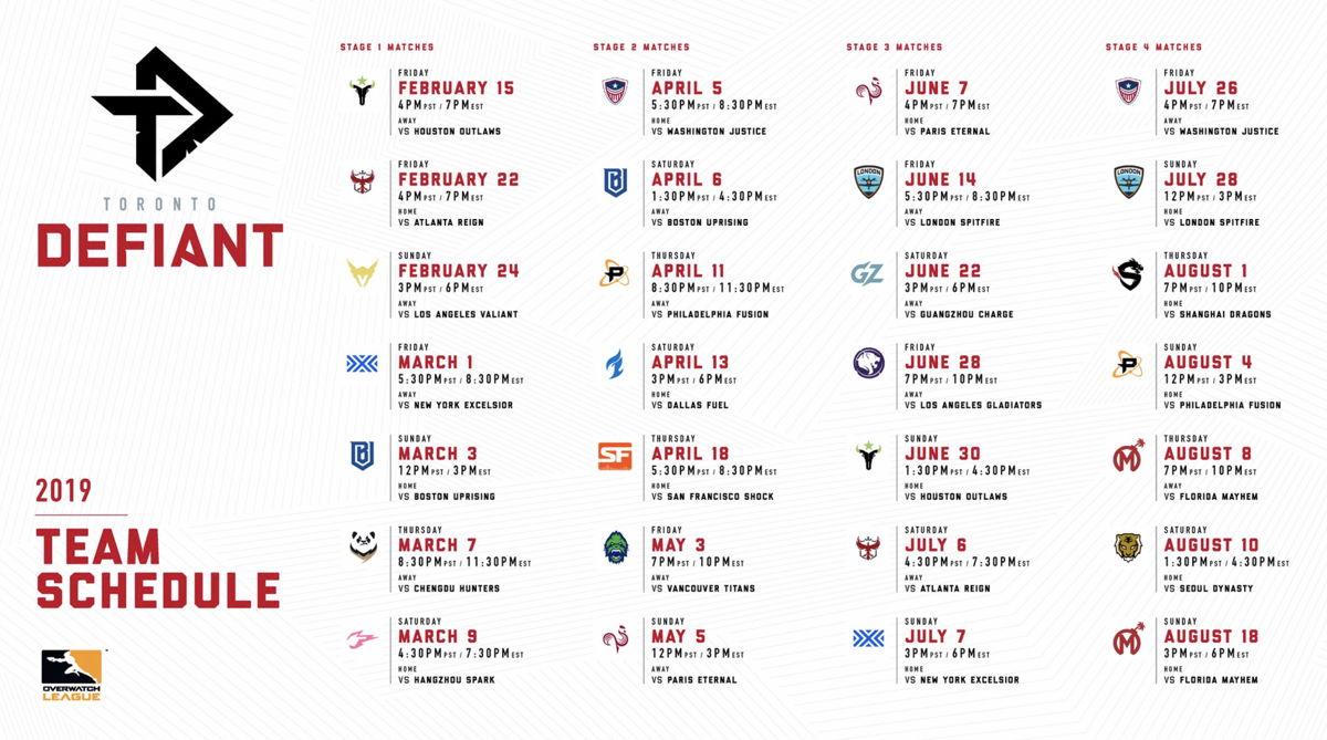 Defiant's 2019 Overwatch League schedule