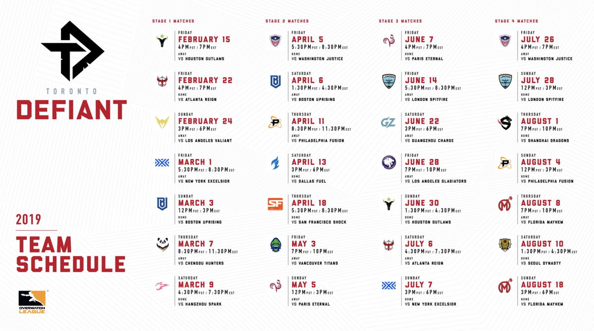 Toronto Defiant Season Schedule