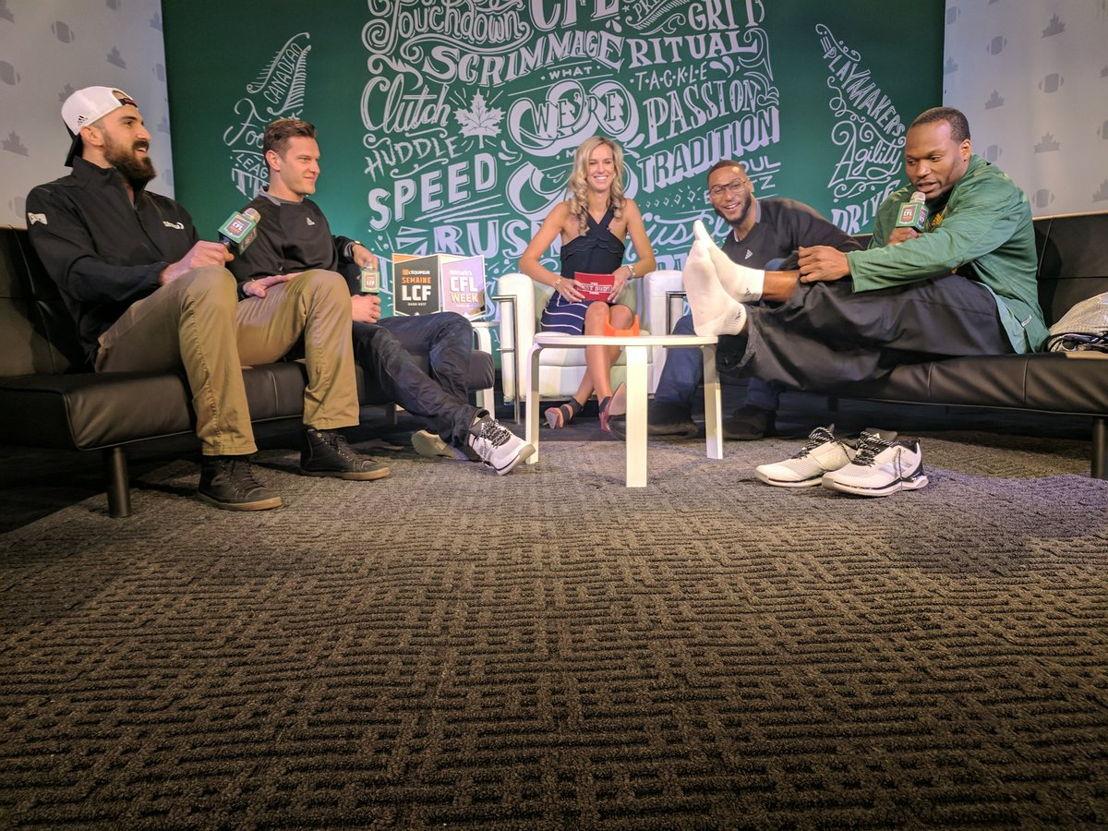 #MarksCFLWeek Live with [L->R] Brad Sinopoli, Greg Ellingson, Brodie Lawson, Adarius Bowman, and Odell Willis. Photo credit: CFL