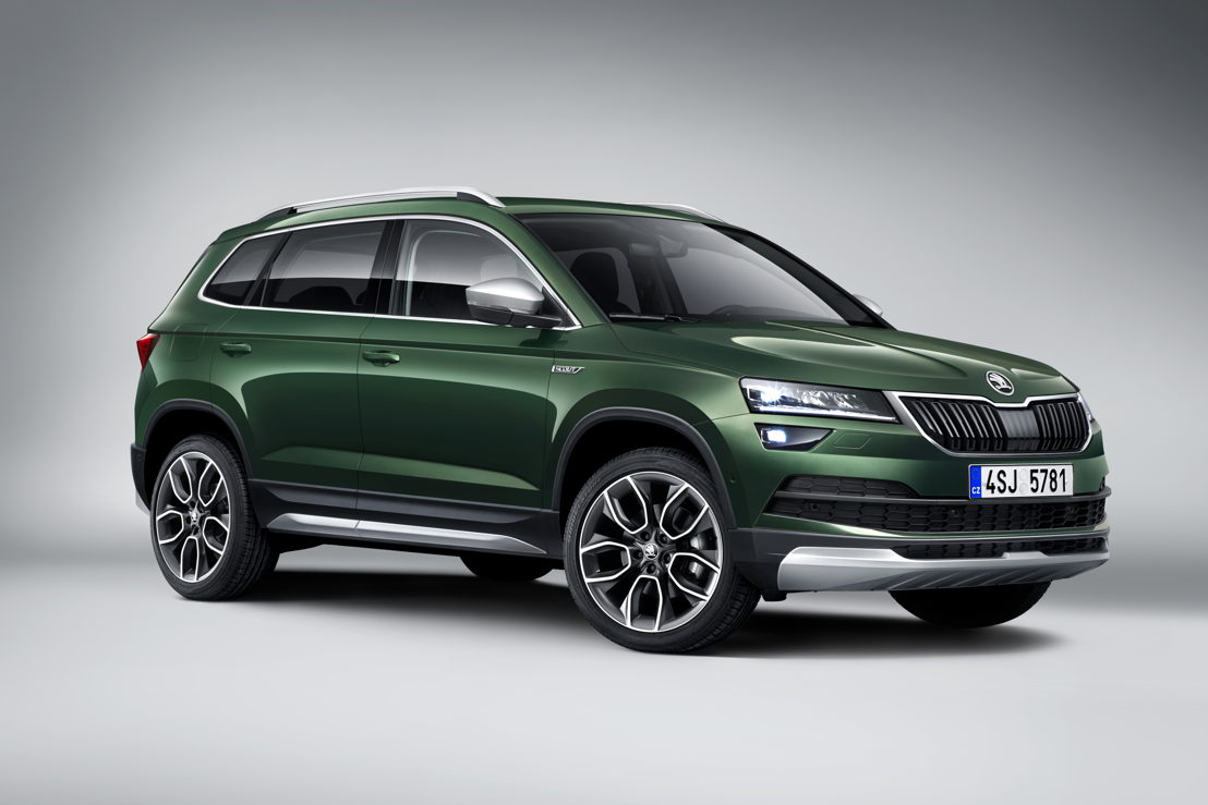 The robust bodywork elements give the ŠKODA KAROQ SCOUT a distinctive appearance.