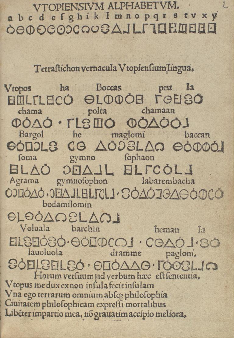 Utopia, Thomas More, Louvain, 1516, Bibliothèque royale de Belgique, Réserve précieuse, INC A 1945, fol. 2r.