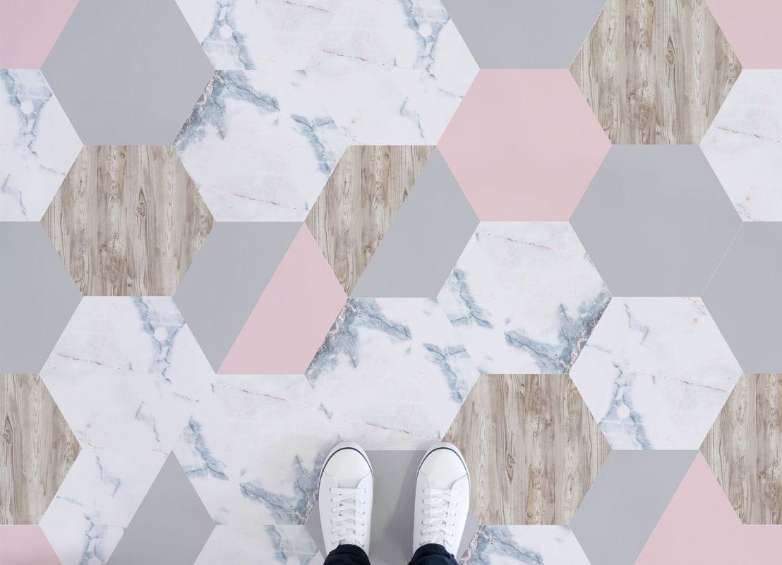 Rosa | Marble and Wood Tile Vinyl Flooring
