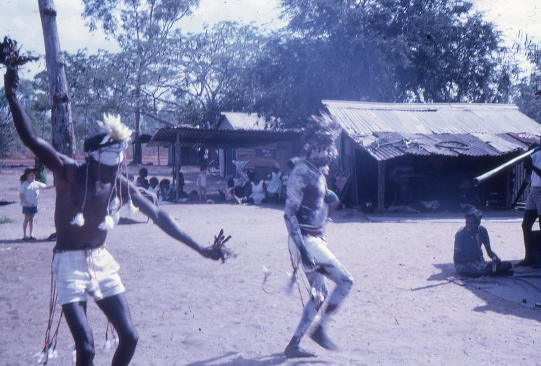 Men in Funeral Dance, 1968. Image: Groote Eylandt linguistics, Keith Hart Collection, Dulcie Levitt Slides