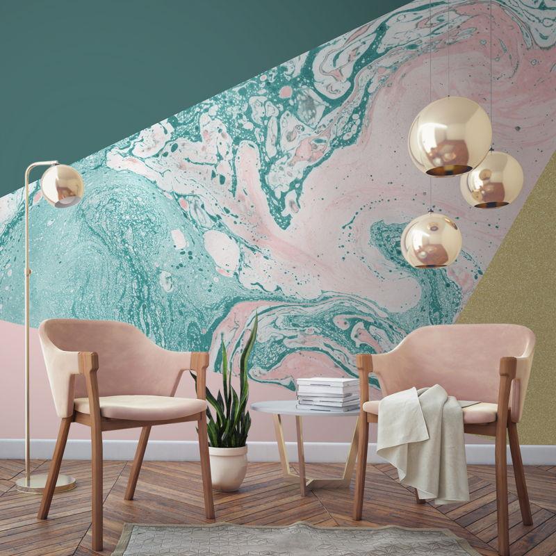Marble & Glitter Geometric Wall Mural