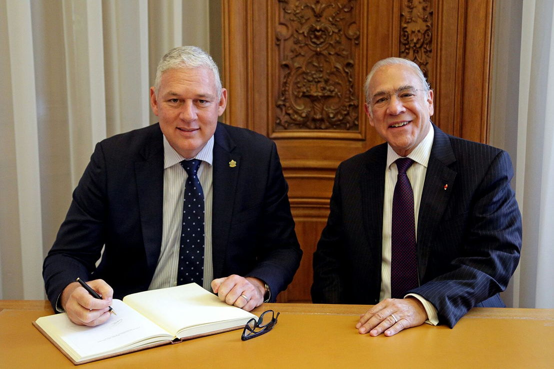 Prime Minister of Saint Lucia the Hon. Allen Chastanet meet with OECD Secretary General H.E Angel Gurria
