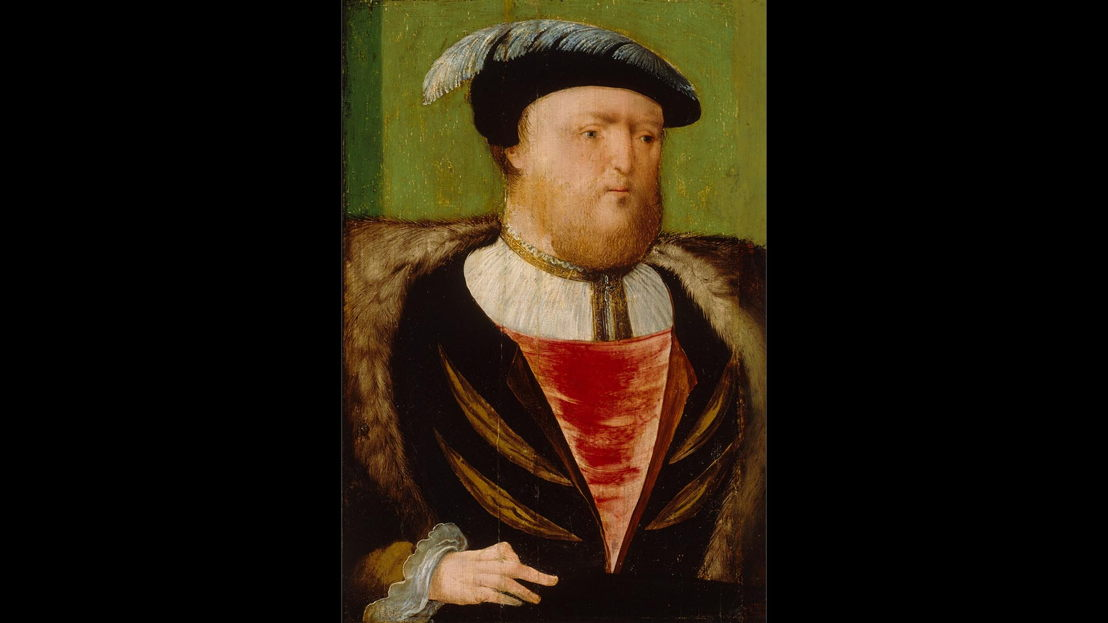 Before Cleaning: AGNSW collection<br/>Anglo-Netherlandish workshop active in London 1530s–40s<br/>King Henry VIII (1491–1547) c1535–40<br/>oil on oak panel<br/>Purchased 1961<br/>OB4.1962