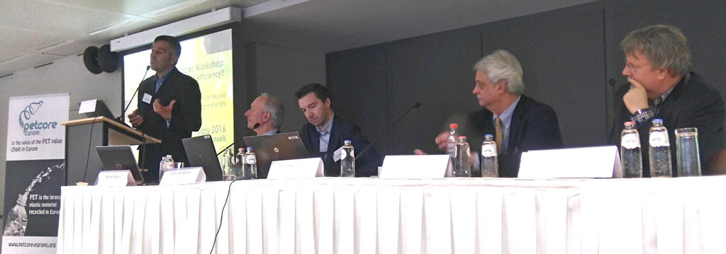 Discussion (from left: Jean-Luc Azzani, P&G; Patrick Peuch, Petcore Europe; Gian de Belder, P&G; Tom Busard, NAPCOR; Johan Kerver, FiliGrade)