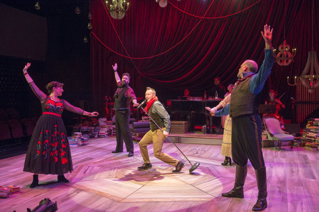 Josh Epstein (centre) and Cast of Onegin. Photo by David Cooper.