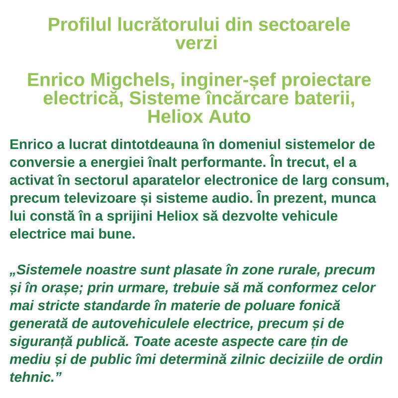 Profilul lucrătorului din sectoarele verzi - Enrico Migchels