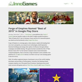 """Forge of Empires Named """"Best of 2015"""" in Google Play Store"""