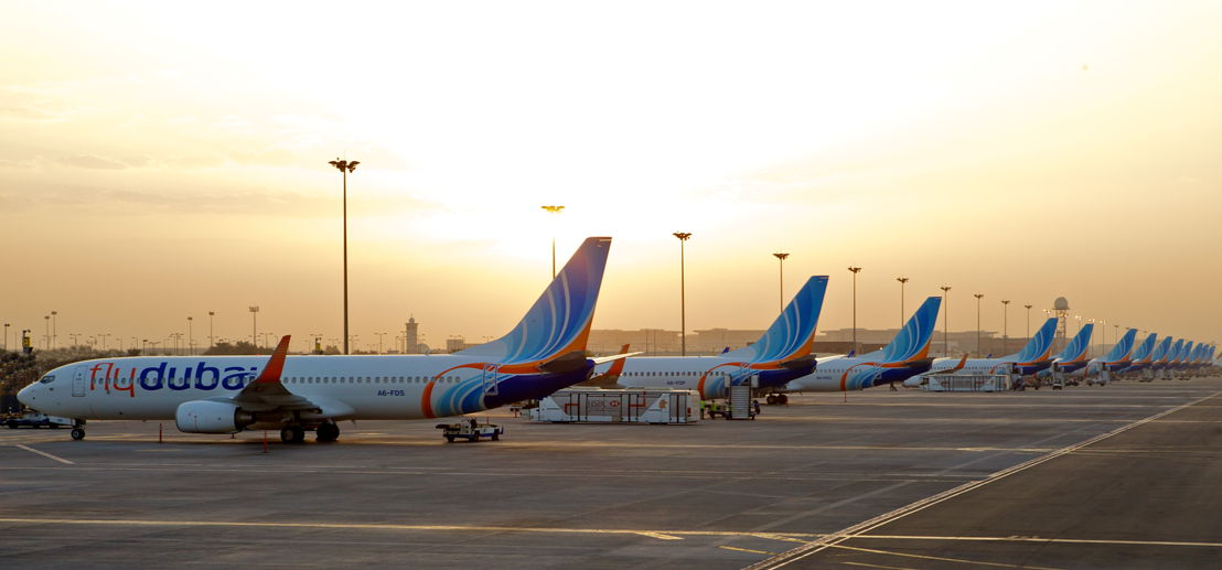 Row of aircraft at the stand